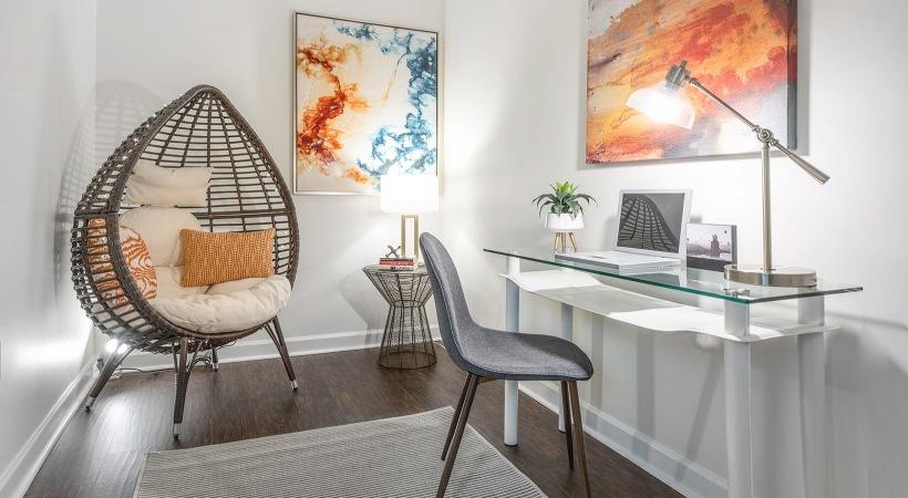 spacious desk nook on wood-style flooring